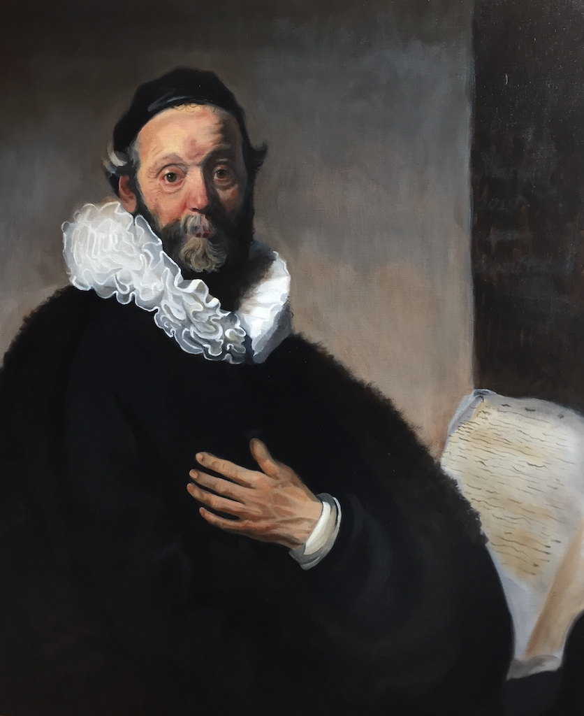 Famous portrait of Wttenbogaerd, after Rembrandt, by Marion de Jong