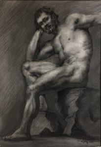 Mannelijk model naar voorbeeld van de Russische Academie in St. Petersburg. Getekend in Houtskool en conté door Marion de Jong